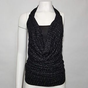 Licorice Black Dot Halter Top Party